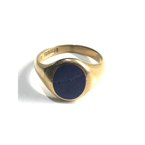 232 - 9ct Gold lapis signet ring 6g