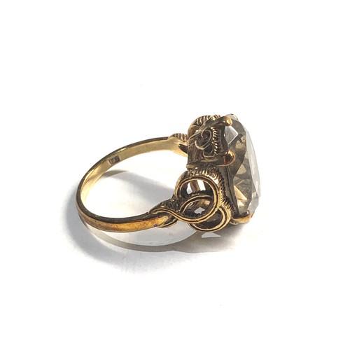 448 - Vintage 9ct Gold smoky quartz ring 5.3g