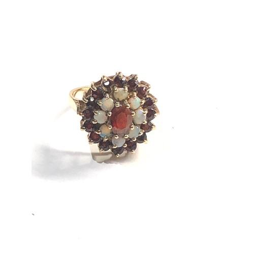 303 - 9ct Gold garnet & opal cluster ring (as seen)
