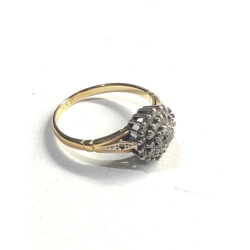 406 - 9ct gold diamond cluster ring 0.33ct diamonds