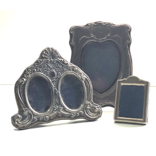 67 - 3 vintage silver picture frames largest measures approx 20cm by 14cm