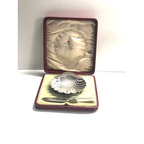 59 - Boxed silver shell butter dish 82g original fitted box London silver hallmarks