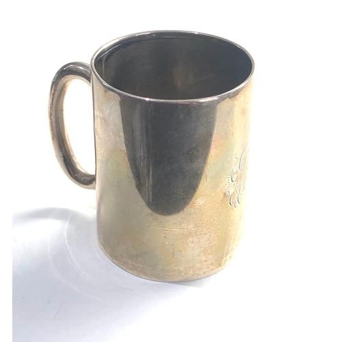 56 - Antique silver christening mug Birmingham silver hallmarks 75g engraved initials