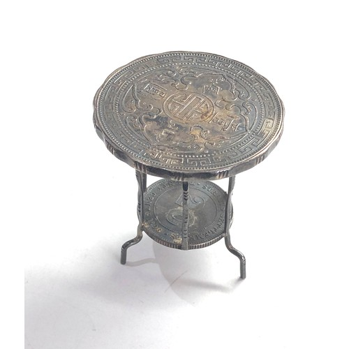 61 - Antique silver miniature coin table set with 1900 silver trade dollar nd victorian 20 dollar