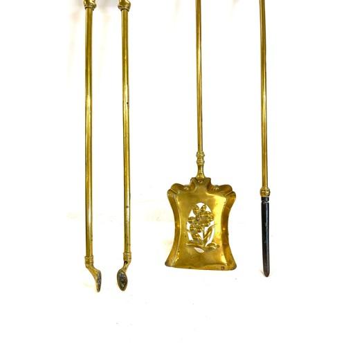 11 - 3 Antique brass fire irons