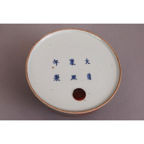 14 - C18th/19th Chinese peach bloom-glazed beehive water pot, bearing Kangxi six-character mark to the ba...