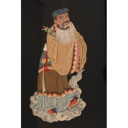45 - Chinese silk embroidered panel, woven with an immortal, Qing dynasty, framed, 37.8 x 60cm....