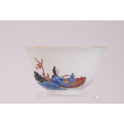 12 - C19th Chinese famille rose sgraffito bowl, painted with figures in a riverside landscape scene, iron...