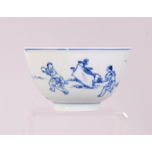 4 - Chinese blue and white bowl, painted with a scholar leaning against a pine tree watching cranes, acc...