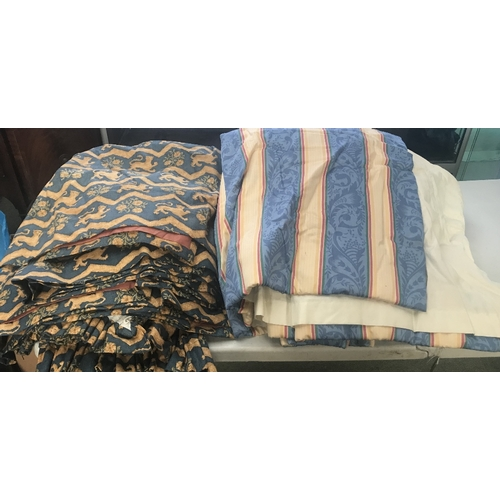 67 - Blue & gold curtains (6) & striped blue & gold curtains (2)...