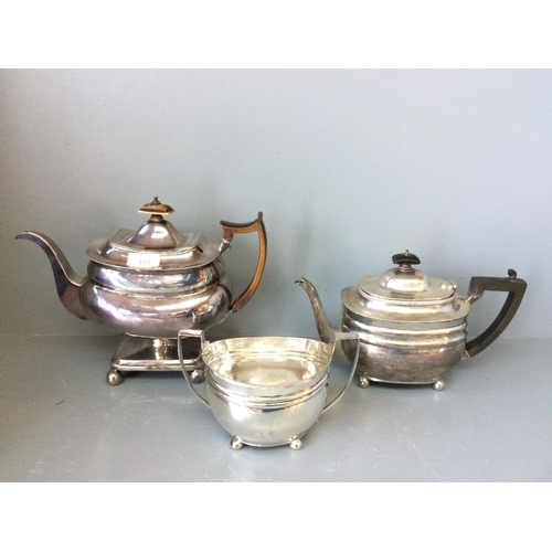 101 - Hall marked silver teapot on stand, London 1810, another hallmarked silver teapot on 4 ball feet Lon...