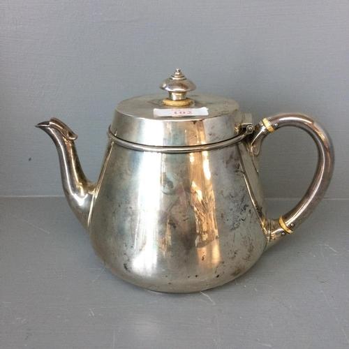 102 - Hallmarked silver circular teapot 22ozt signed EW.IB...