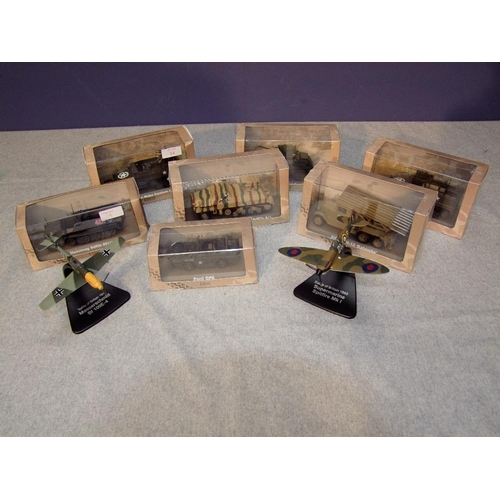 14 - 7 Atlas die-cast models of military vehicles, together with Atlas WWII aircraft, all boxed...
