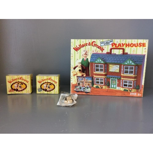 2 - Wallace & Gromit playhouse in original box & 3 figures....