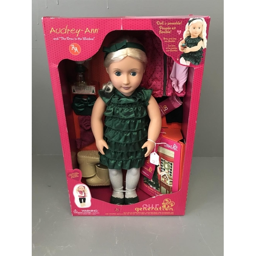 25 - Our generation doll Audrey Ann complete with accessories, boxed...