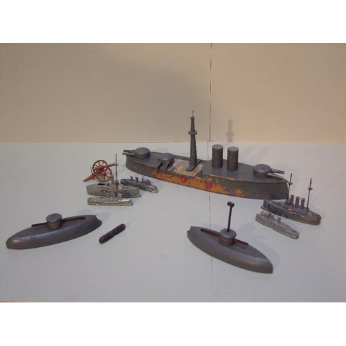 5 - WWI battleship & submarine mousetrap toy, together with WWI lead battleships (as found)...