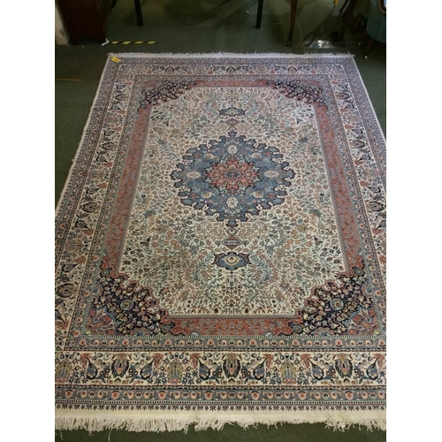 50 - Rug with blue, pink and white centre flower pattern & white borders, 410x300cm...