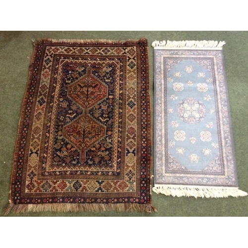 53 - 2 small rugs: 1 in blues, pinks & creams 183x130cm & 1 in browns, blues and creams 160x120cm...