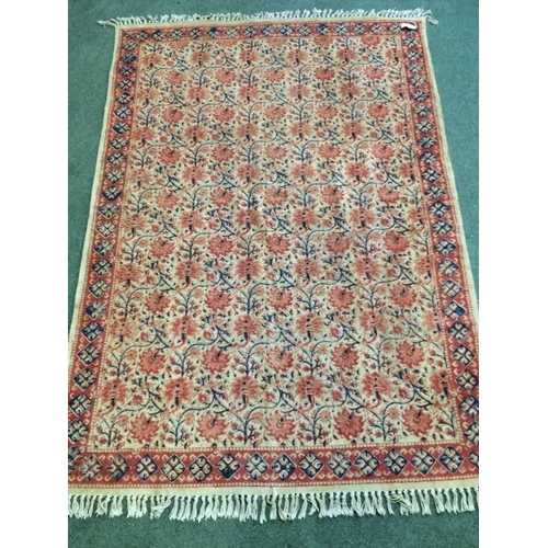 54 - Indian rug with flower decorations 184x123cm...