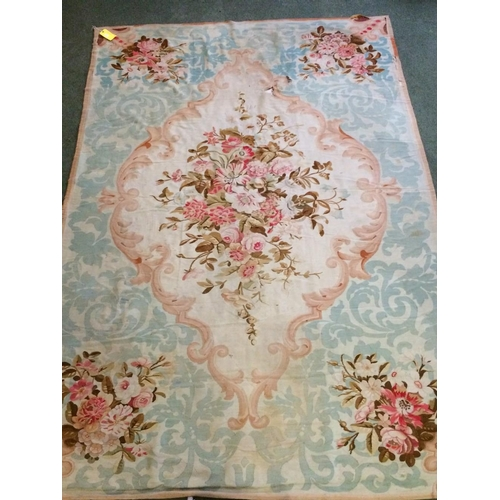 55 - Old tapestry style rug with cream centre flower medalion & flowers to each corner 312x210cm...