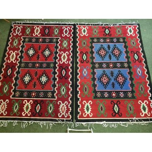 58 - 2 Kelim rugs in red, black & green 230x153cm...