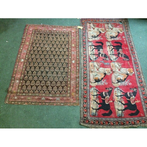 59 - 2 rugs: 1 with pink borders, brown & black centre 190x125cm; 1 with blue & black borders, dogs & hor...