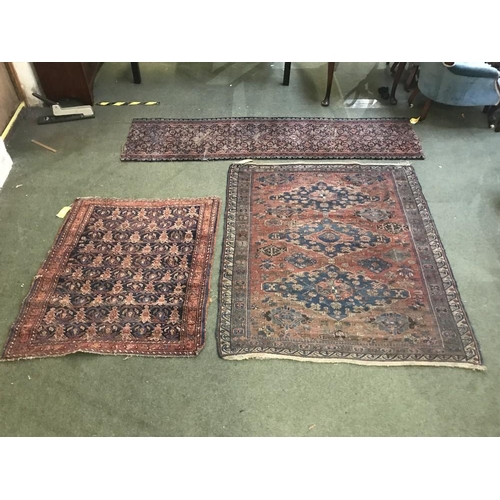 60 - 2 rugs: 1 with cream centre ground, green & blue border 170x125cm, 1 with blue centre & orange borde...