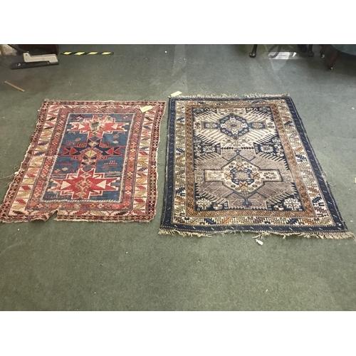 61 - 3 rugs: blue, cream, pink 190x150cm; orange & blue 140x113cm; blue, pink runner 260x70cm...