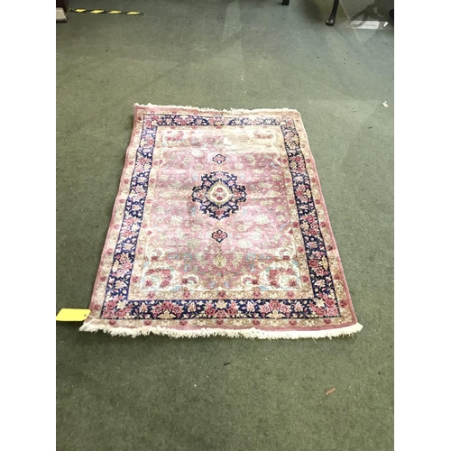 62 - Rug with pink & blue borders, blue central medallion with flowers 150x100cm...