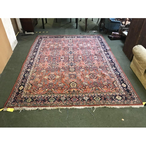 65 - Terracotta wood rug with all over stylized pattern 360x275cm...
