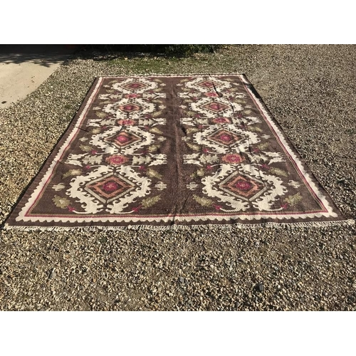 66 - OKA rug, light brown & cream ground with pinks & floral motifs 365x254cm (cost £1000 new)...