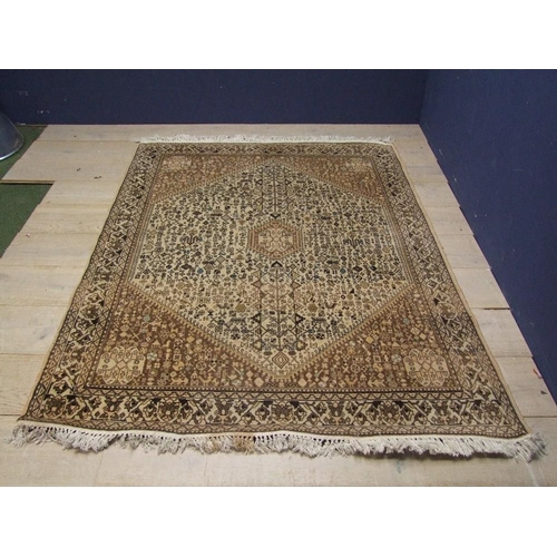 69 - Brown & black on fawn ground Middle Eastern rug 220x160cm...
