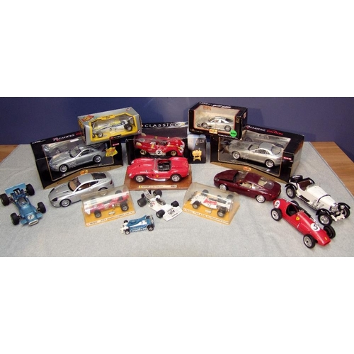 9 - Qty of 1:18 die-cast models of Ferrari, Mercedes Benz, Aston Martin & a selection of racing cars (16...