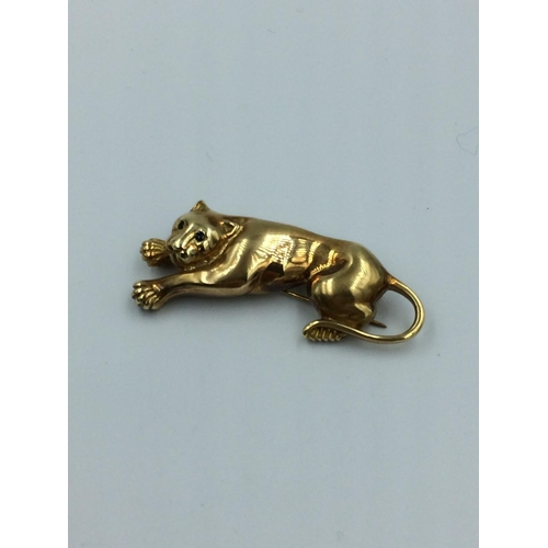 95 - Jaguar brooch in the Cartier style marked 585 14K...