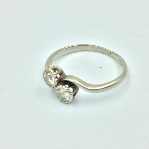 98 - Diamond crossover ring in Platinum 0.50cts total...