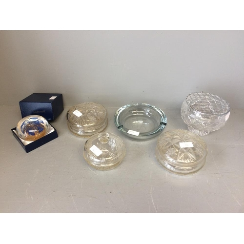 10 - Glass flower bowl, paperweight, ashtray & lidded containers...