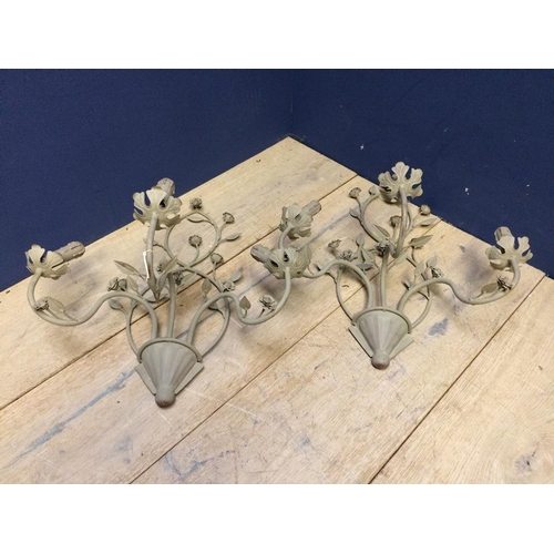 108 - Pair of decorative, grey painted wall lights...