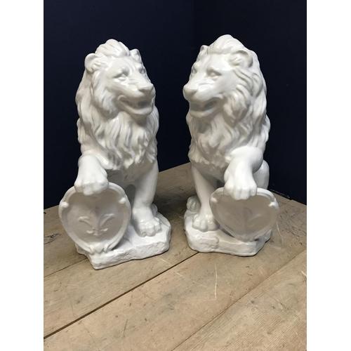 116 - Pair of C19th Terracotta glazed lions 81cm...