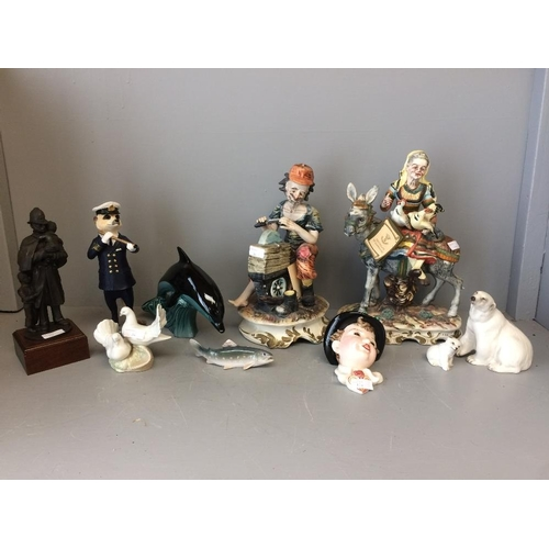 14 - 2 Capodimonte figures (1 with extensive repairs) & various other porcelain animals & figures...
