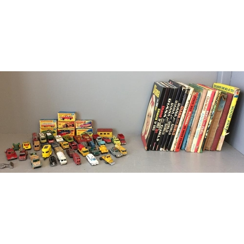 16 - Qty of well used Matchbox toys & 7 boxed 1960s girls albums, Diana, June, Girls World, Bunty & other...
