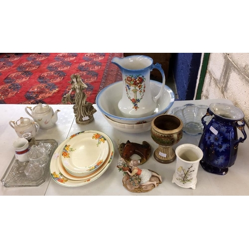 20 - Quantity of general household china including ewer & basin, figurines, vases, pressed glass & other ...