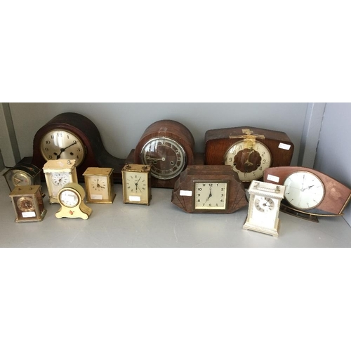 22 - 5 Mantle clocks with  wooden cases, 7 carriage & other small clocks (all in need of restoration)...