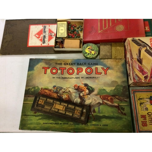 24 - Assorted Vintage games including Totopoly 1950s Monopoly, cribbage boards, plastic model, Reeves oil...
