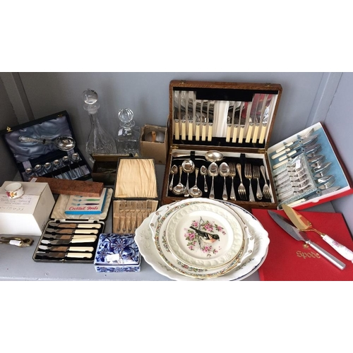 25 - Pair of decanters, EPNS flatware, canteen of cutlery, various china, cutlery & other items...