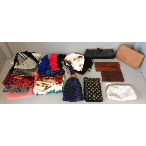 26 - Qty of head scarves, 5 assorted evening bags, & wallets...