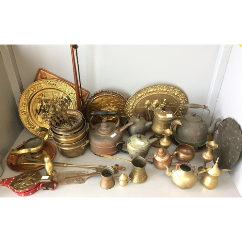 28 - Quantity of of Asian & European brass, copper & metal ware, brass coaching horn...