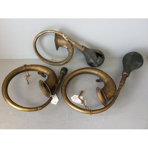 30 - 3 Vintage brass 'bulb' car horns (some worn)...
