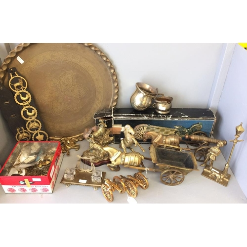 31 - Brass ware: Peacock tail rife screen, 2 cannons, large brass tray, horse brasses, shire horses pulli...