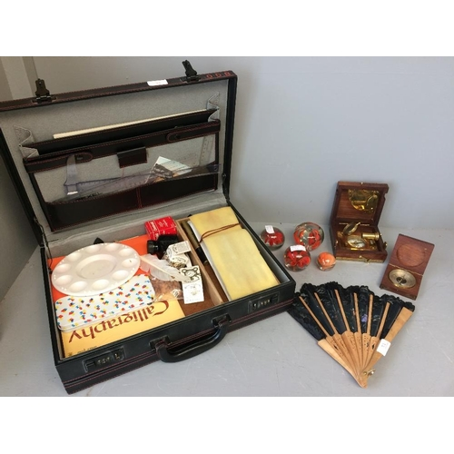 32 - Cased calligraphy set, 4 paper weights, brass marine muster box & boxed brass compass...