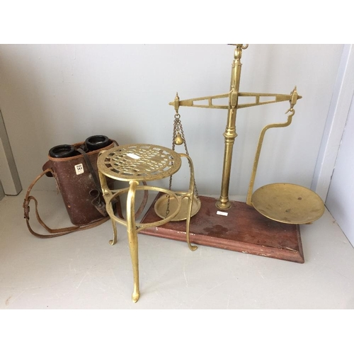 34 - Brass scales, brass trivet & pair of binoculars (damaged)...